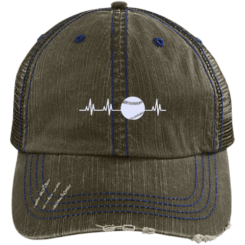 Softball Heartbeat  Distressed Unstructured Trucker Cap