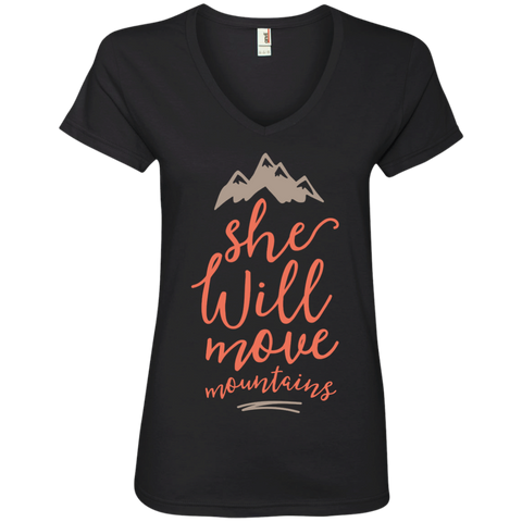 She will move mountains   Ladies' V-Neck T-Shirt
