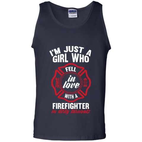 Girl Fell in love with a firefighter 100% Cotton Tank Top
