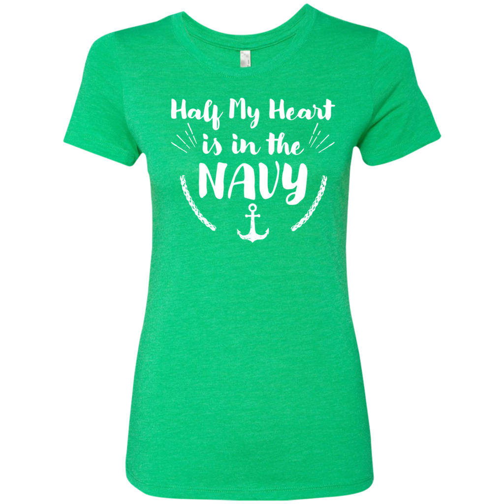 Half My Heart is in the Navy Next  Level Ladies Triblend T-Shirt