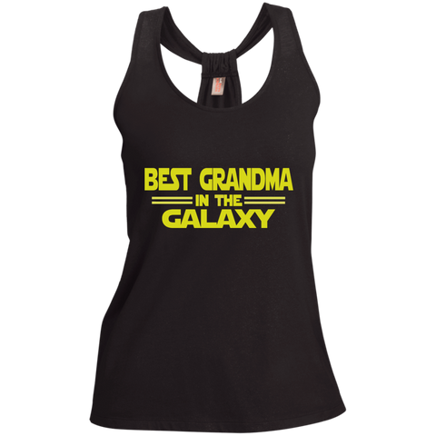 Best Grandma in the Galaxy Ladies Shimmer Loop Back Tank