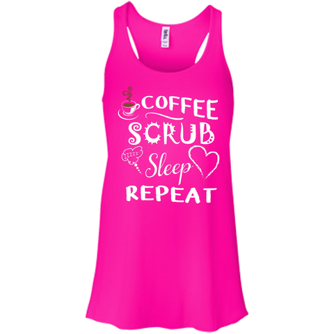 Coffee Scrub Sleep Repeat Junior  Flowy Racerback Tank