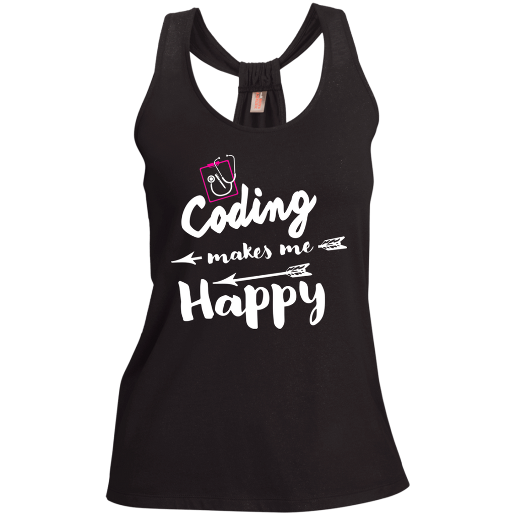Coding makes me happy  Ladies  Shimmer Loop Back Tank
