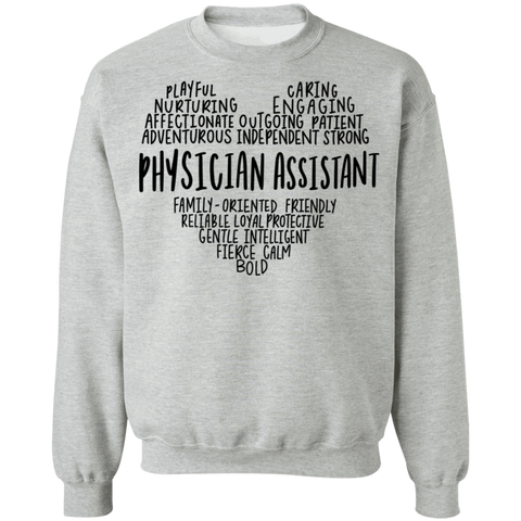 Physician Assistant Heart Crewneck Pullover Sweatshirt