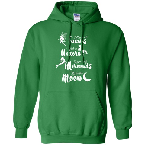 Fairies Unicorn Mermaids and Moon Pullover Hoodie 8 oz