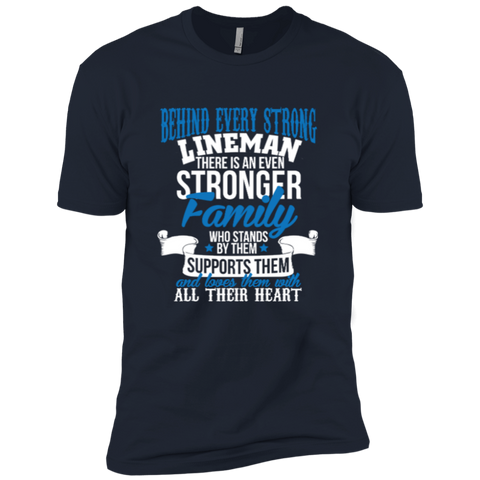 Behind Every Strong Lineman There Is An Even Stronger Family Who Stands By Them Supports Them Next Level Premium Short Sleeve Tee