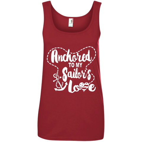 Anchored to My Sailor's Love Ladies' 100% Ringspun Cotton Tank Top