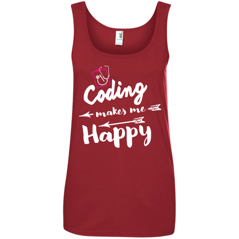 Coding makes me happy  Ladies  100% Ringspun Cotton Tank Top
