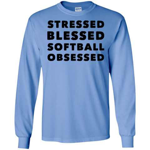 Stressed Blessed Softball Obsessed  LS Tshirt