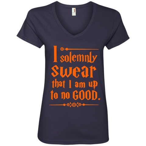 I Solemnly Swear that I am Up to No Good Ladies' V-Neck Tee