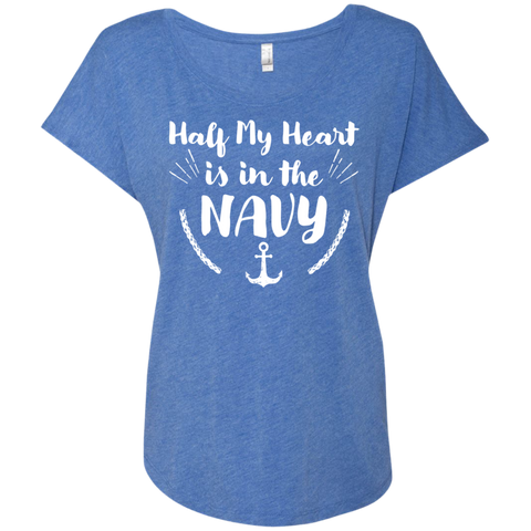 Half My Heart is in the Navy Next  Level Ladies Triblend Dolman Sleeve