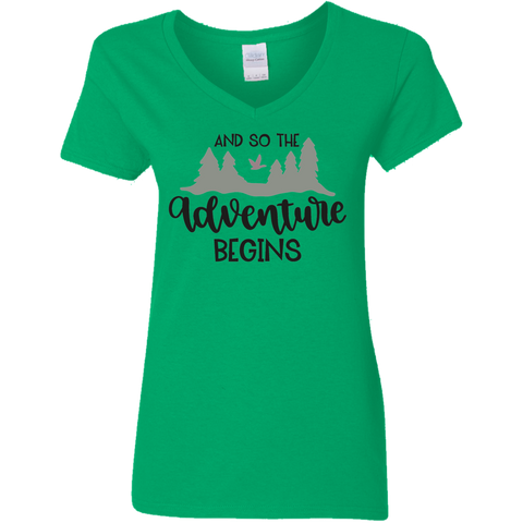 And So the adventure begins   Ladies' 5.3 oz. V-Neck T-Shirt