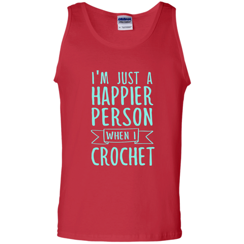 I'm Just a Happier Person When I Crochet 100% Cotton Tank Top