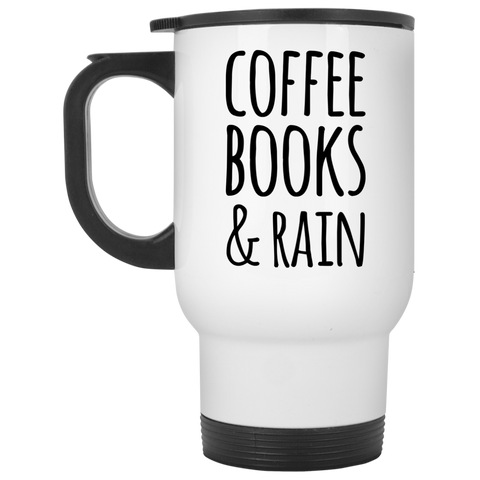 Coffee Books & Rain Travel Mug