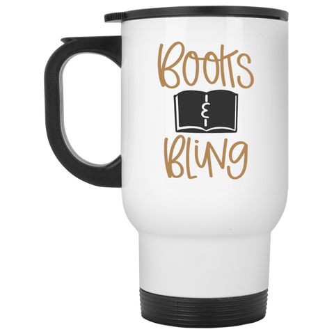 Books Bling  White Travel Mug
