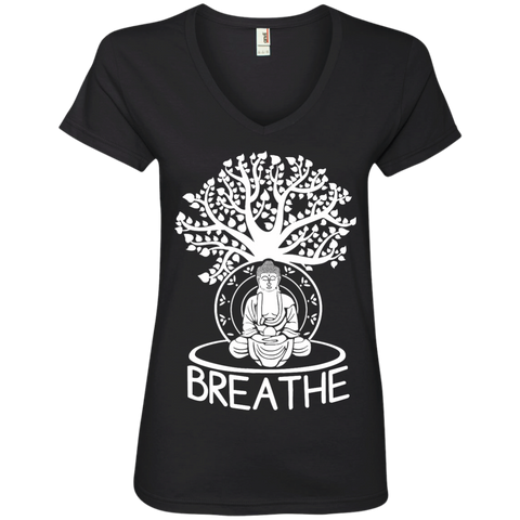 Yoga Breathe Ladies  V-Neck Tee