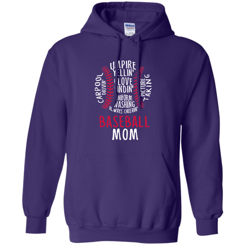 Baseball Mom Always Cheering Pullover Hoodie 8 oz