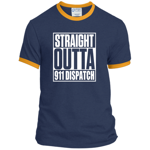 Straight Outta 911 Dispatch Ringer Tee