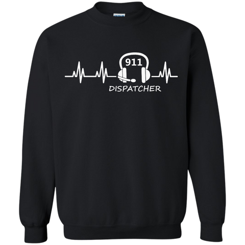 911 Dispatcher Heartbeat Crewneck Pullover Sweatshirt  8 oz