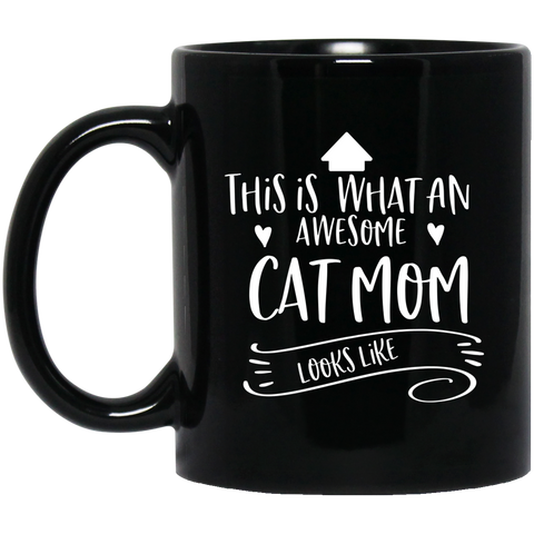 Awesome cat mom  11 oz. Black Mug