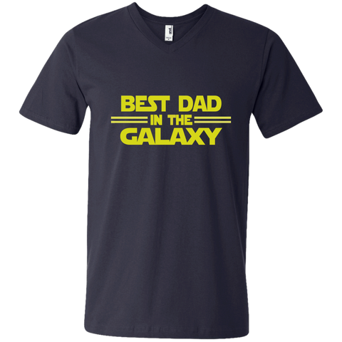 Best Dad in the Galaxy Men's Printed V-Neck T