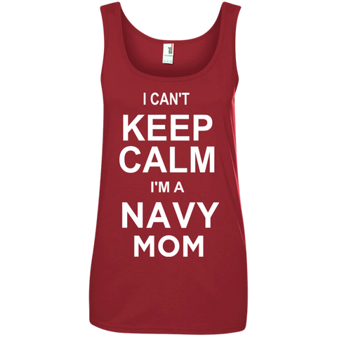 I cant Keep Calm I'm a Navy Mom Ladies  100% Ringspun Cotton Tank Top