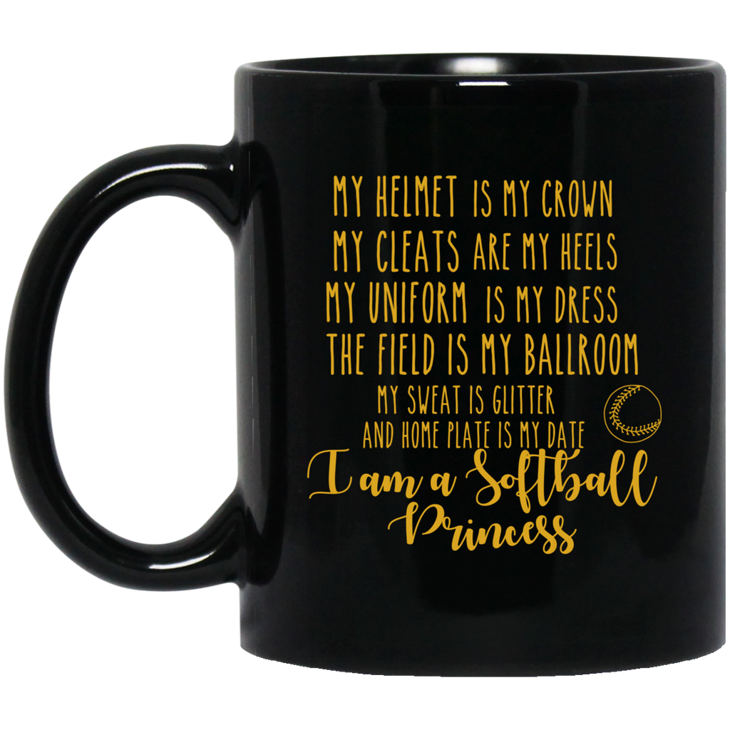 Softball Princess  11 oz. Black Mug