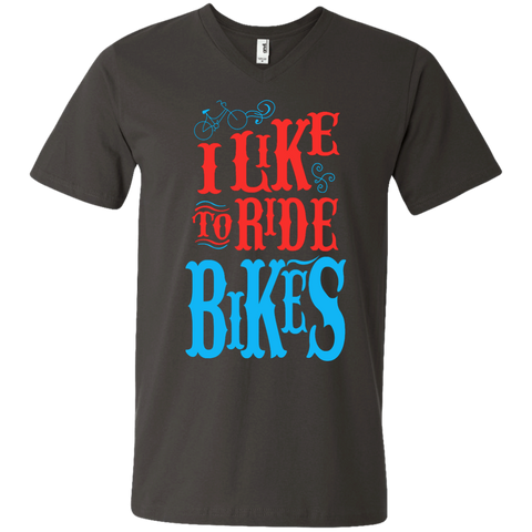 I Like to ride Bikes Men's  Printed V-Neck T