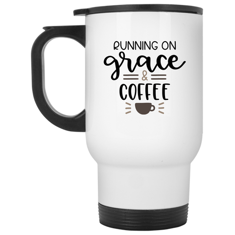 Running on Grace  & Coffee White Travel Mug