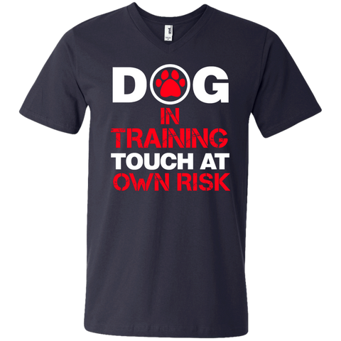 Dog in Training Touch at Own Risk Men's  Printed V-Neck T