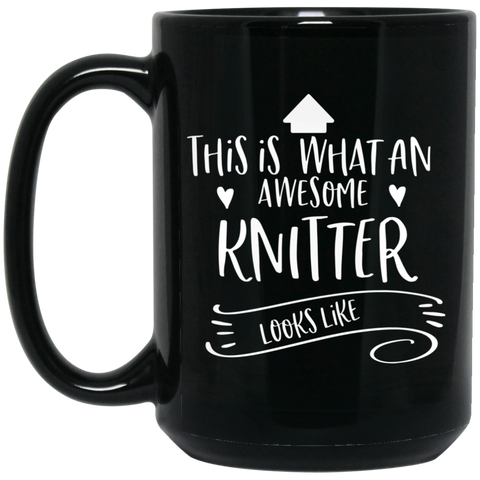 Awesome Knitter  15 oz. Black Mug