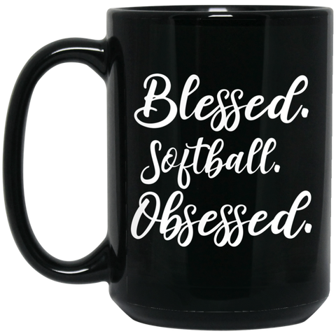 Blessed softball obsessed 15 oz. Black Mug