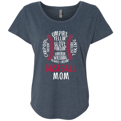 Baseball Mom Always Cheering Next Level Ladies Triblend Dolman Sleeve