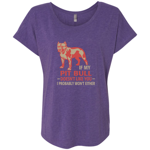 If my pit bull doesn't like you I probably wont either Triblend Dolman Sleeve