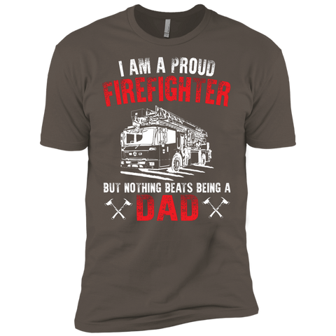Proud Firefighter but Nothing Beats being a Dad  Premium Short Sleeve Tee
