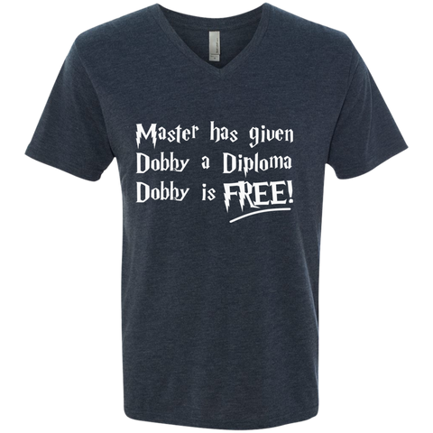 Master has given dobby a diploma dobby is free  Next Level Triblend V-Neck Tee