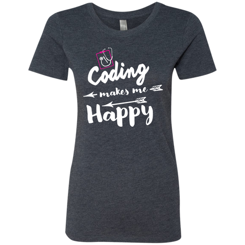 Coding makes me happy  Next  Level Ladies Triblend T-Shirt