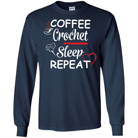 Coffee Crochet Sleep Repeat LS Tshirt