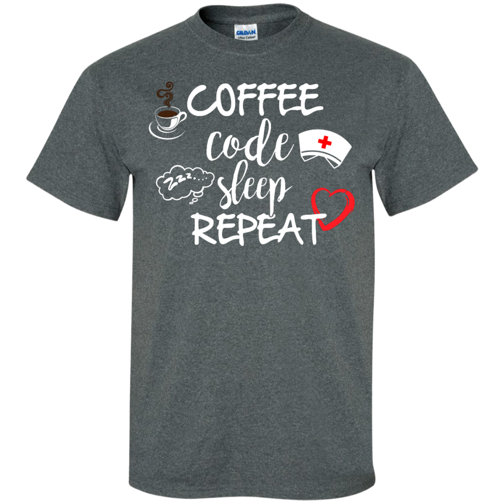 Coffee Code Sleep Repeat  Cotton T-Shirt