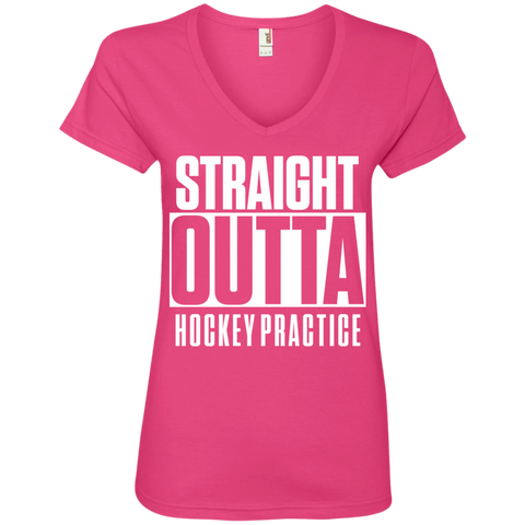 Straight Outta Hockey Practice Ladies' V-Neck Tee