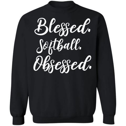 Blessed softball obsessed . Crewneck Pullover Sweatshirt  8 oz.