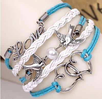Love Braided Blue White  Leather Bracelets Sweet