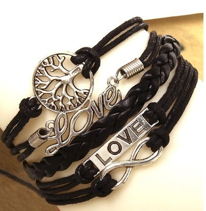 Bracelets - Love Infinity Tress Black Braided Bracelet