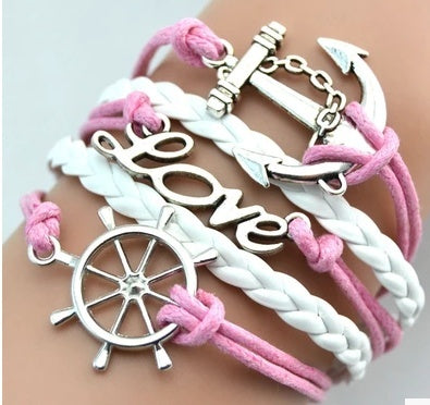 Bracelets - Sailor Anchor Pink Braided Bracelets