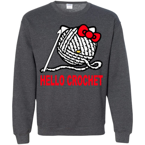 Crewnecks - Hello Crochet  Pullover Sweatshirt  8 Oz