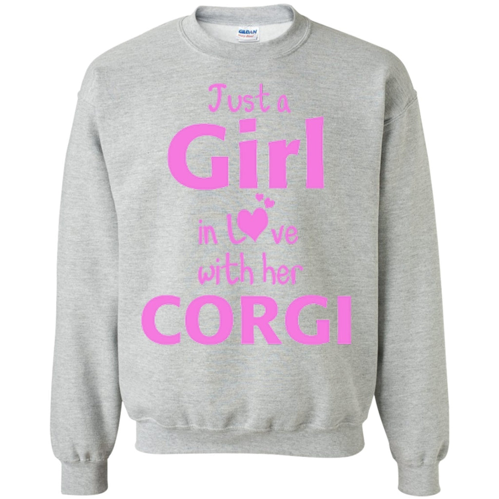 Crewnecks - Just A Girl In Love With Her Corgi  Crewneck Pullover Sweatshirt  8 Oz