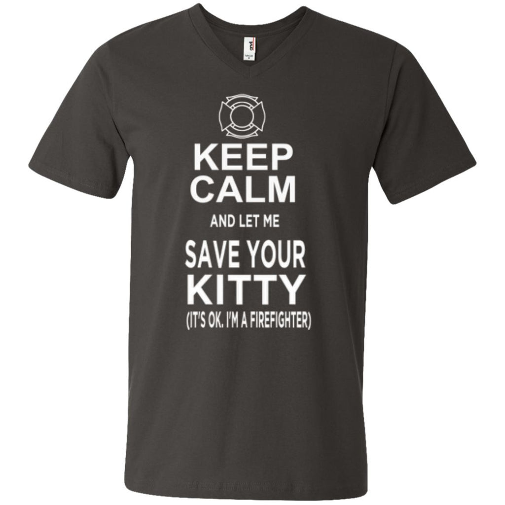 Featured Products - Keep Calm And Let Me Save Your Kitty ( It's Ok I Am A Firefighter )  Men's Printed V-Neck T