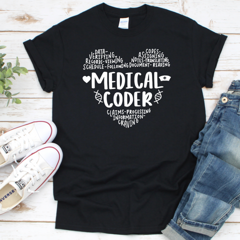 Medical coder heart sayings. T-Shirt