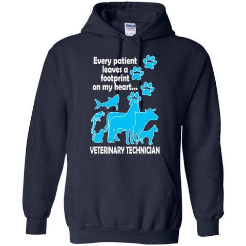 Hoodies - Every Patient Leaves A Footprint On My Heart Veterinary Technician  Hoodie 8 Oz