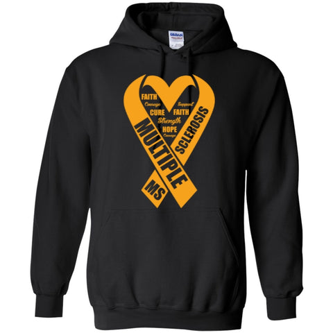 Hoodies - Multiple MS Sclerosis  Heart  Hoodie 8 Oz